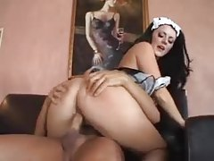 Squirting French maid uses this guy like a sexual servant tubes