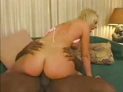 Pink bikini slut takes black cock up the ass tubes