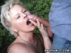 Mature amateur wife sucks and fucks outdoor with facial cumshot tubes
