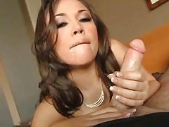 Sexy girl in naughty makeup sucks and strokes in POV tubes