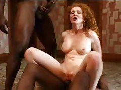 Perfect body on curly hair redhead that loves DP tubes