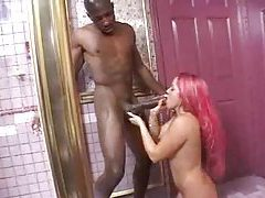 Black girl sucks monster black cock in shower tubes