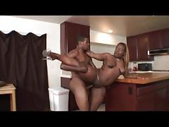 Fat black wife fucked hard in kitchen tubes