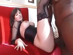 Fishnets and corset on perfect black cock slut tubes