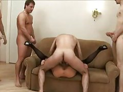 Slut lets her holes get used in a gangbang tubes