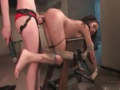 Long BDSM scene with lesbian mistress and sub tubes