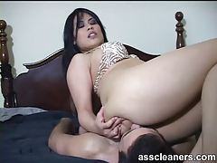 Tasty babe with big ass sits on his face tubes