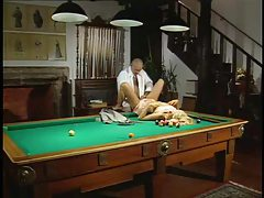 Girl watches a slut get fucked on the pool table tubes