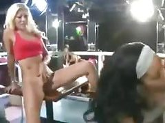 Women cheering and fucking at huge party tubes