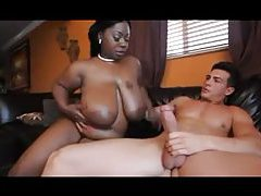 Black BBW gobbles big white cock tubes