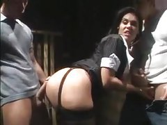 Guys fuck a hot slut in a freight elevator tubes