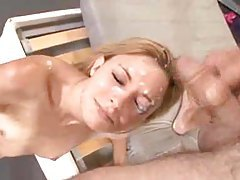 Skinny girl goes down the line sucking big cock tubes