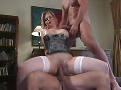 Busty corset milf gives up mouth and pussy to guys tubes