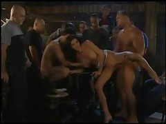 Incredible gangbang with cumshots on tits tubes