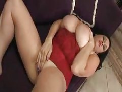 Fat slut in red corset solo tease tubes