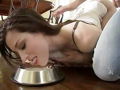 Dominated girl in corset spanked and sucking tubes