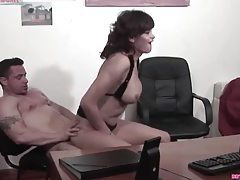 Hot busty shemale sucks on his cock tubes