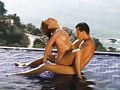 Fucking in the pool with gorgeous brunette tubes