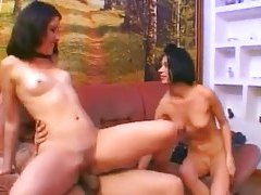 Blown by two dirty girls in sexy threesome tubes