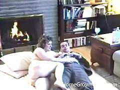 Chubby couple hardcore sex in front of fireplace tubes