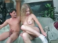 Cute girl with curly hair sucks cock tubes