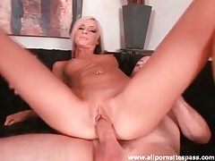 Petite blonde cocksucker sits on dick tubes