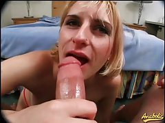 Slut swiftly deepthroats big cock in POV tubes