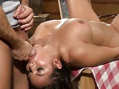 Chick face fucked in a restaurant tubes