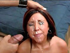 Girls on their knees in facial compilation tubes