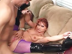 Katja fucking in shiny boots and fishnet pantyhose tubes