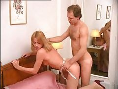 Beautiful slender girl undresses and fucks tubes