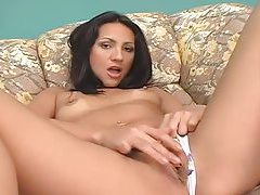Petite Latina hottie with perky tits exposes all tubes