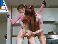 Skinny lesbian teen bondage and penetration sex tubes