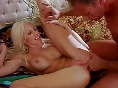 Saucy blonde with huge tits gets pumped hard tubes