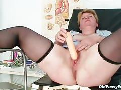 Toy and speculum in her mature pussy tubes