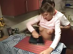 Hot amateur couple have sensual sex in the kitchen tubes