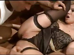 Luscious blonde in lingerie gets her shaved pussy drilled tubes