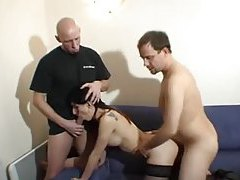 French slut fucked in the ass in threesome tubes