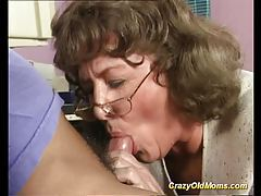 Crazy old mom gets big cock tube