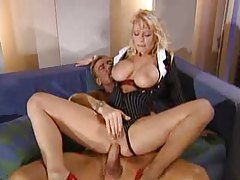 Busty blonde office milf gets anal drilled tubes