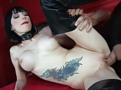 Milky white skin girl in leather boots suck and fuck tubes