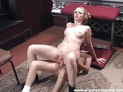 Pigtailed blonde gets her ass impaled on cock tubes