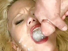 Slutty blonde whore swallows many men tubes