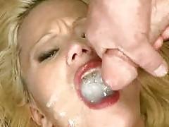 Slutty blonde whore swallows many men tubes