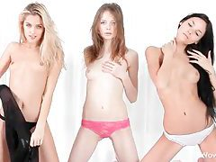 Three beautiful slender babes strip down to tease tubes