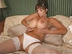 Slender babe with huge jugs plays with her pussy tubes