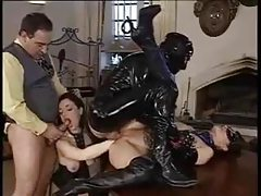 Ass fisting in a latex orgy tubes