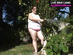 Pussy Bbw Playing With A Hose Fat Belly Chubby tubes