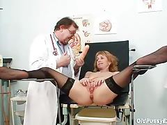 She keeps her stockings on during gyno exam tubes