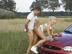 Blonde bent over car laid in her hot cunt tubes